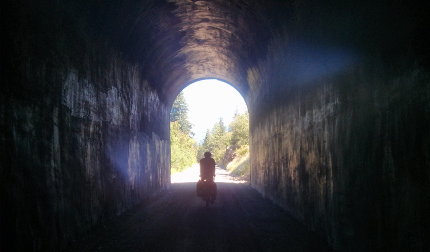 Biking through the tunnels on the Iron Horse Trail