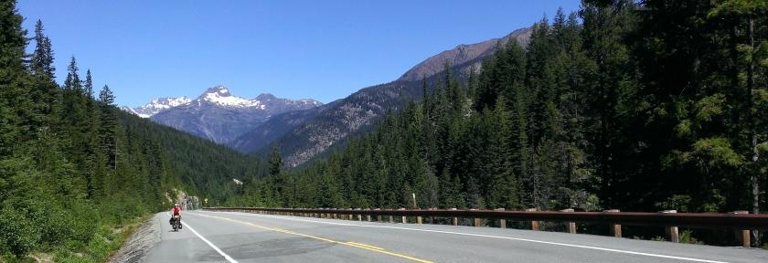Riding up a mountain pass.